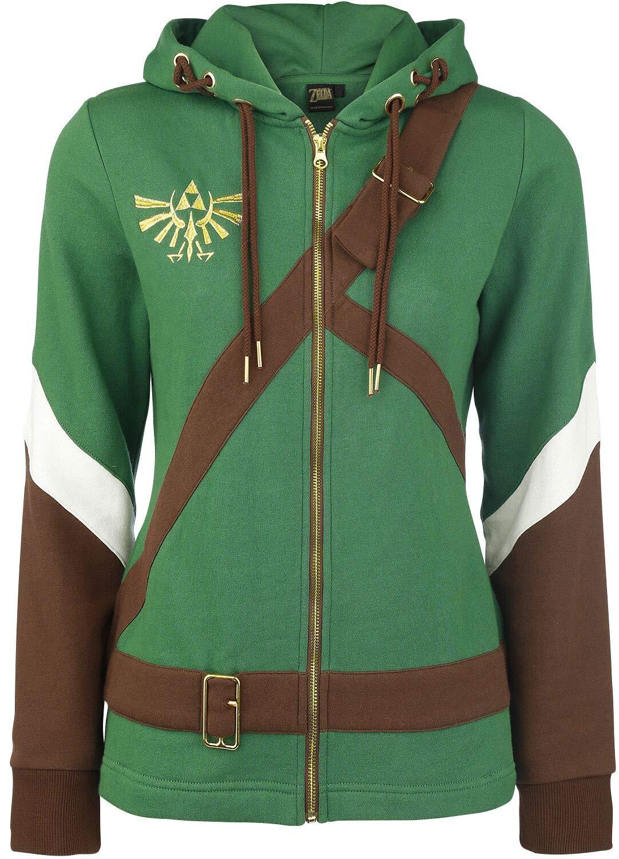 The Legend of Zelda Cosplay Zip-Hoodie Chaqueta con capucha Mujer verde/marrón XL