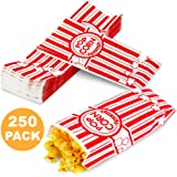 [250 Pack] 2 oz Popcorn Bags - Disposable Popcorn Containers Paper Popcorn Boxes Flat Bottom Striped Red and White - Perfect for Movie Night, Concessions, Carnival Party Circus