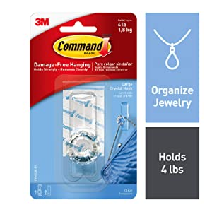 Command Crystal Hook, Organize Damage-Free, 1 hook, 2 strips, Clear, Indoor Use (17096CLR-ES)