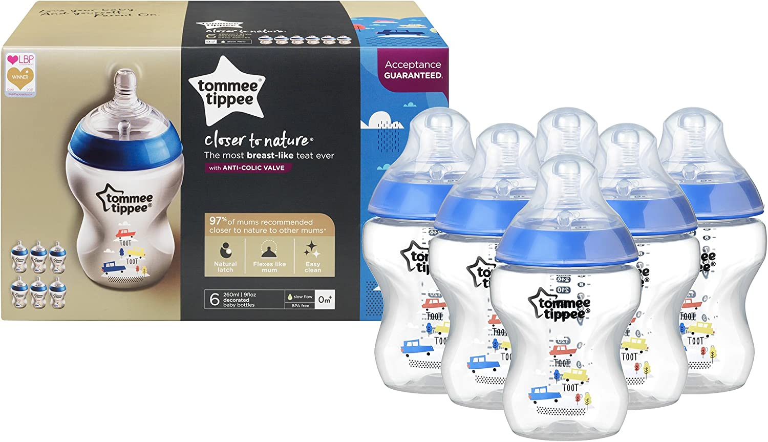 260 ml Biber/ón pack de 6 Tommee Tippee Closer to Nature con decoraci/ón azul