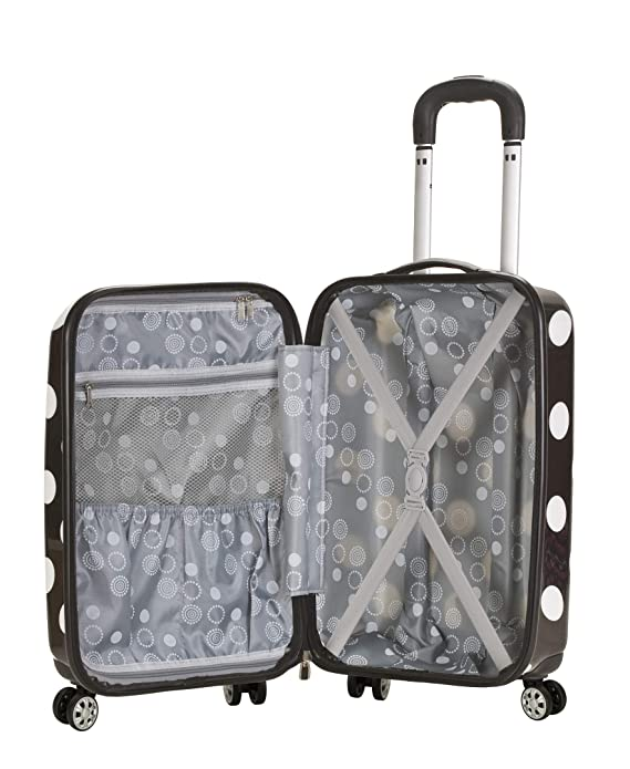 Amazon.com | Rockland Luggage 3 Piece Laguna Beach Upright Luggage Set, Black Dot, Medium | Luggage Sets