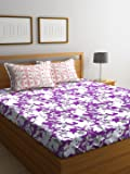 Bombay Dyeing Breeze 120 TC Cotton Double Bedsheet with 2 Pillow Covers - Purple