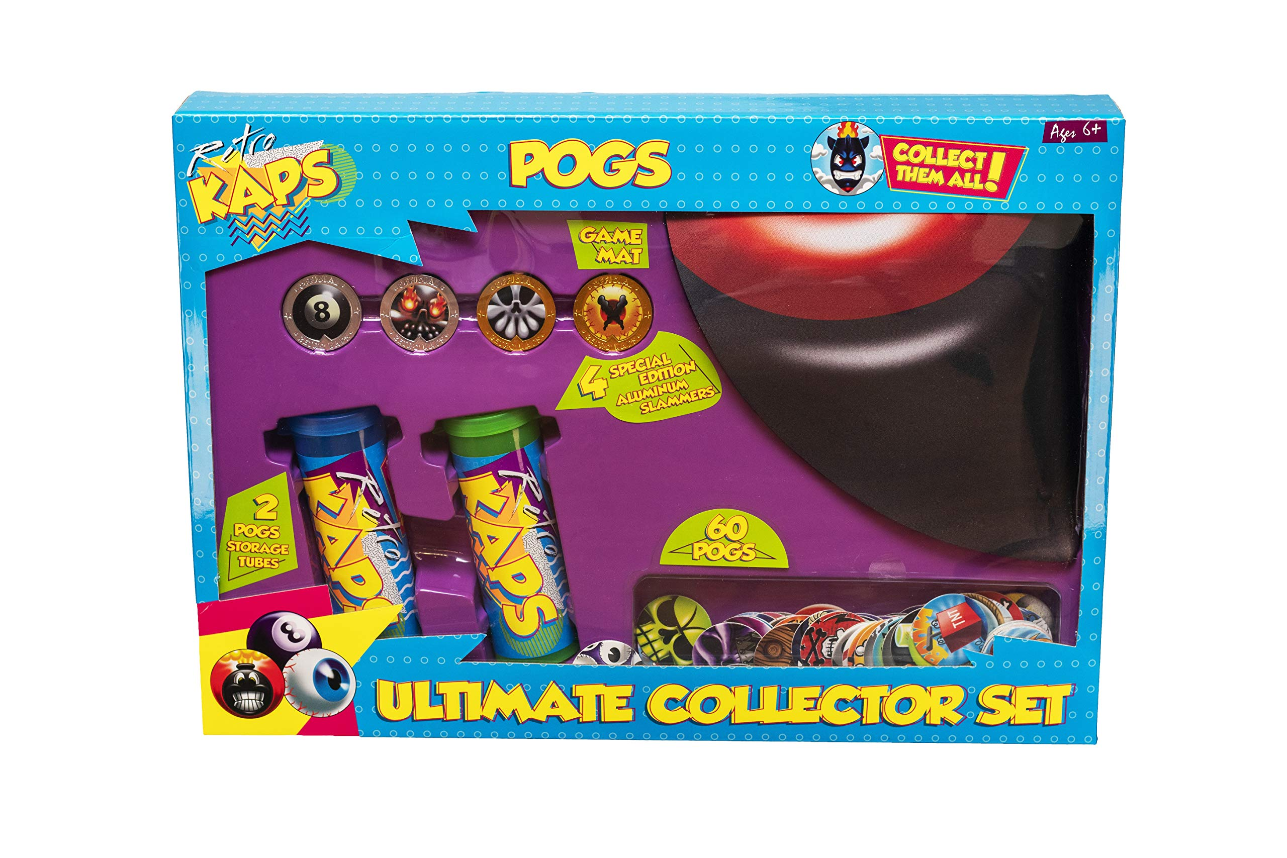 Pog Retro Kaps Ultimate Collector Set Game Includes: 60 Pogs , 4 Exclusive Slammers , 2 Storage Tubes & 1 Deluxe Game Mat by Pog Retro Kaps