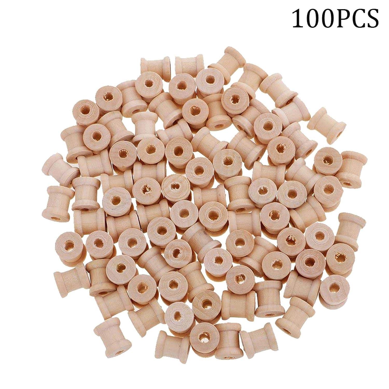 100 Pezzi Mini Bobine vuote in Legno di Colore Naturale Colore Legno. LAQI
