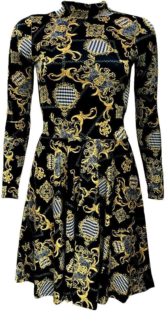 Luxury Royal Baroque Floral Damask Print Midi Bodycon Dress