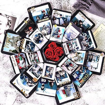 MachinYesity Contenitore di Regalo di Esplosione Esagonale Fatto a Mano dellalbum di Foto Creativo per i Regali degli Amanti di Festival dellalbum del Regalo degli Album della Famiglia