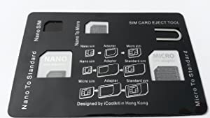 Credit Card Size SIM Card Holder Case - Including 3 sim Card Adapter and iPhone Pin Tool