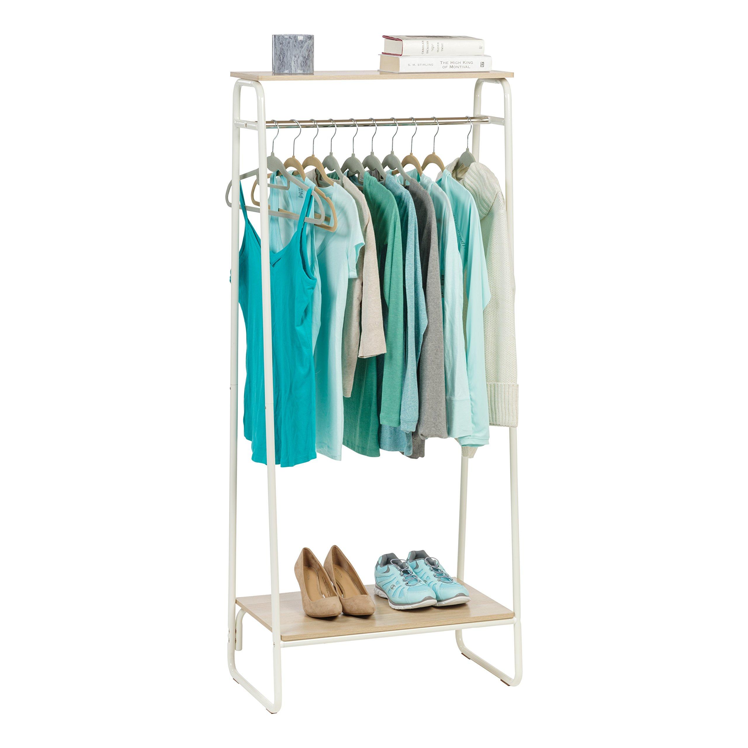 IRIS Metal Garment Rack with 2 Wood Shelves, White and Light Brown by IRIS USA, Inc. (Image #7)