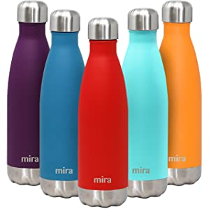 MIRA 17 Oz Stainless Steel Vacuum Insulated Water Bottle | Double Walled Cola Shape Thermos | 24 Hours Cold, 12 Hours Hot | Reusable Metal Water Bottle | Leak-Proof Sports Flask | Matte Red