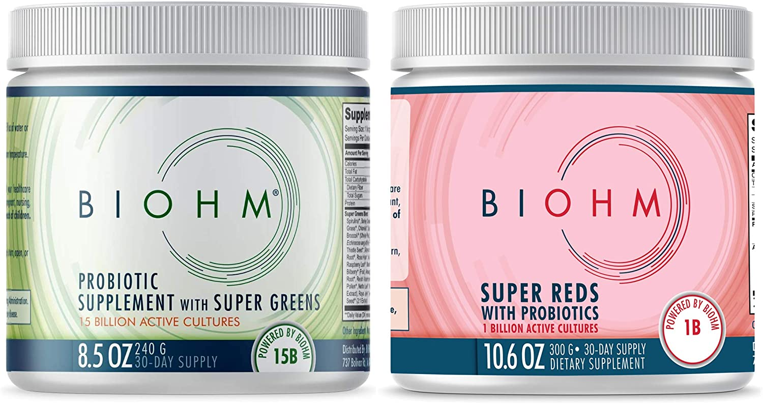 BIOHM Dr. Formulated Super Greens & Super Reds Superfood Powder with Probiotics and Digestive Enzymes, Packed with Antioxidants & Polyphenols, Allergen Free, Non-GMO, Vegan, 30 Servings Each