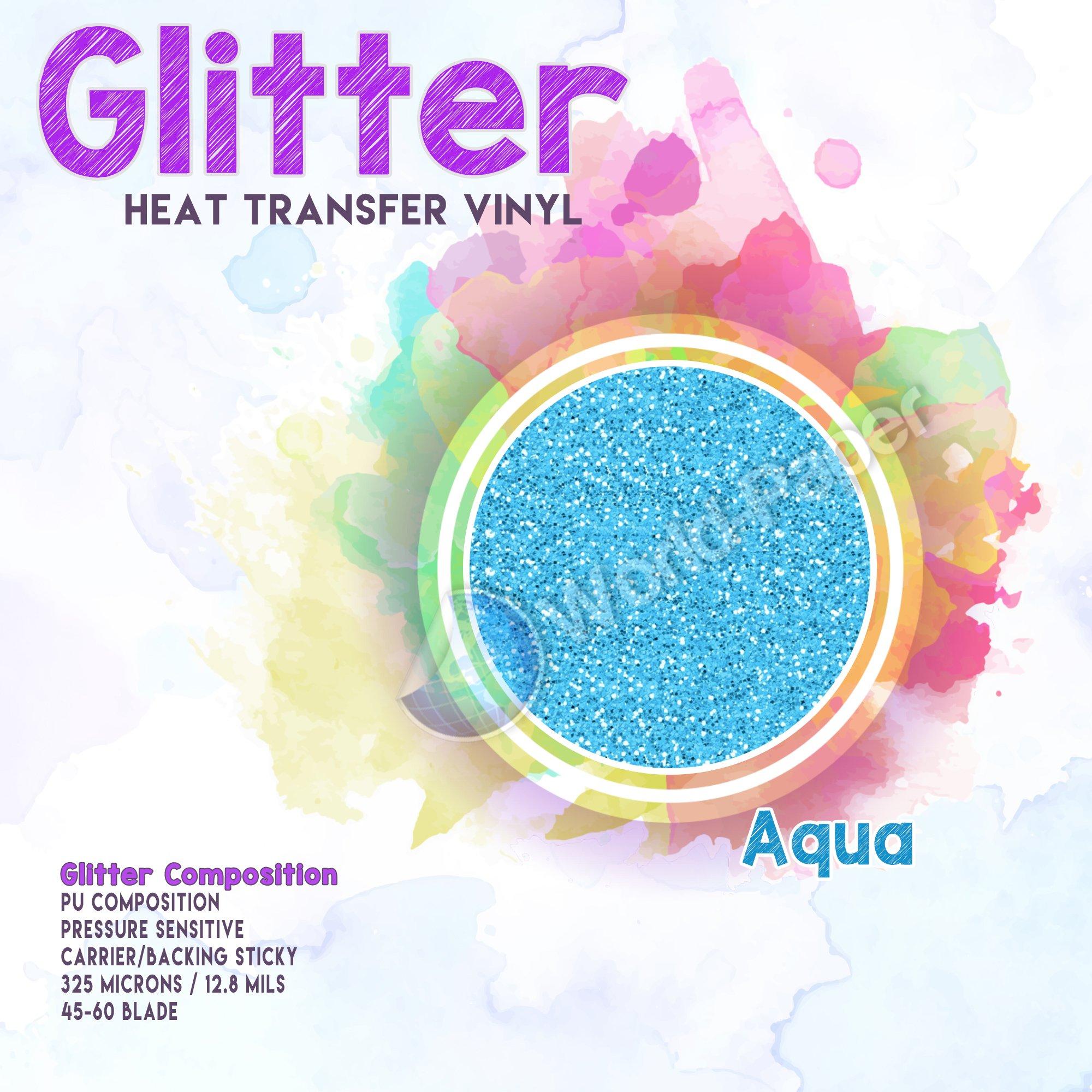 Glitter Heat Transfer Vinyl (HTV) WORLD - PAPER 20'' x 5Yd Silver (Aqua) by world-paper