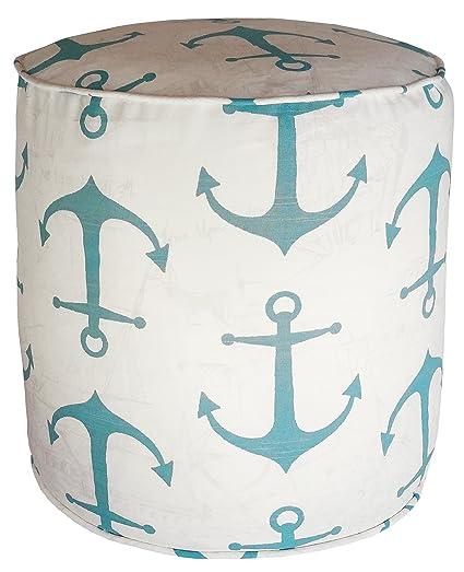 Amazon Metje Anchor PoufOttoman 40 Cylinder Aqua Home Delectable Anchor Pouf