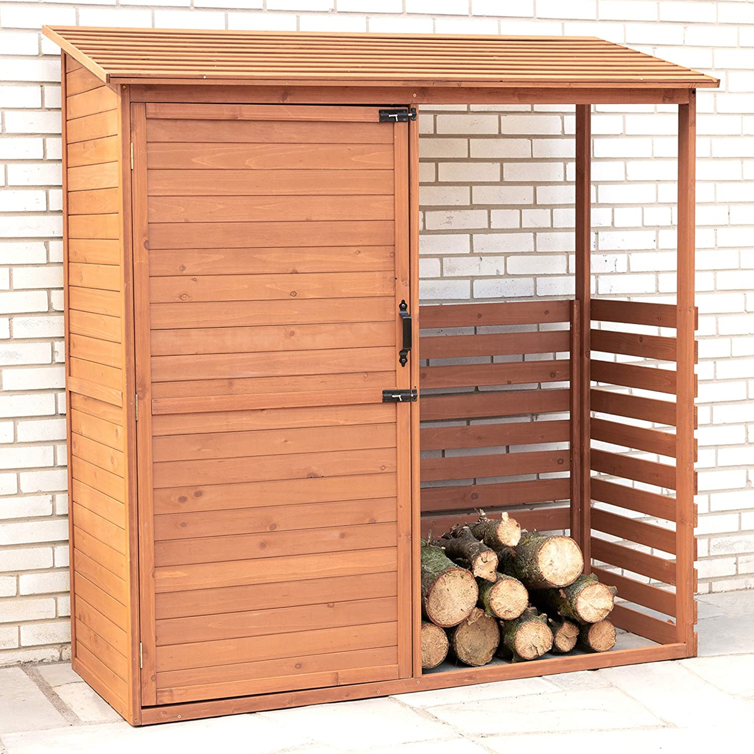Design 1 Leisure Zone Outdoor Wooden Storage Sheds Fir Wood Lockers with Workstation