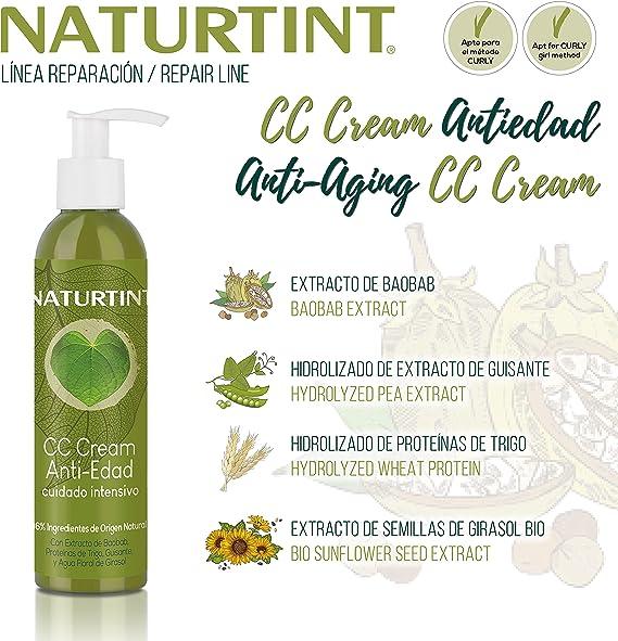 Naturtint CC Cream Antiedad - Mascarilla Capilar Sin Aclarado. Pelo Seco y Dañado. Reparación, Hidratación, Fuerza y Volumen. 96% Ingredientes ...