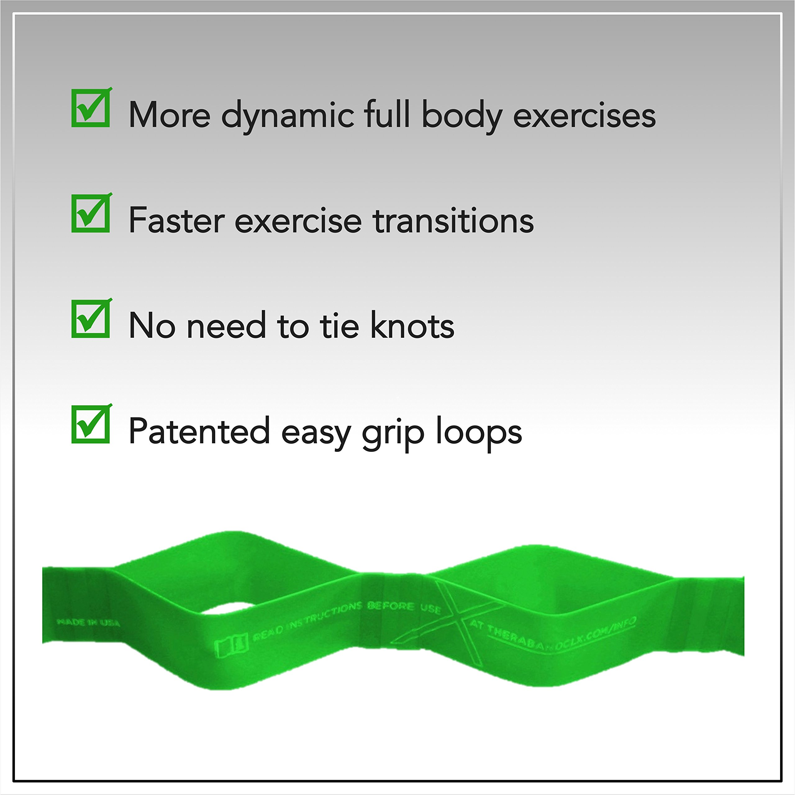TheraBand CLX Resistance Band with Loops, Fitness Band for Home Exercise and Full Body Workouts, Portable Gym Equipment, Gift for Athletes, Individual 5 Foot Band, Green, Heavy, Intermediate Level 1 by TheraBand (Image #7)