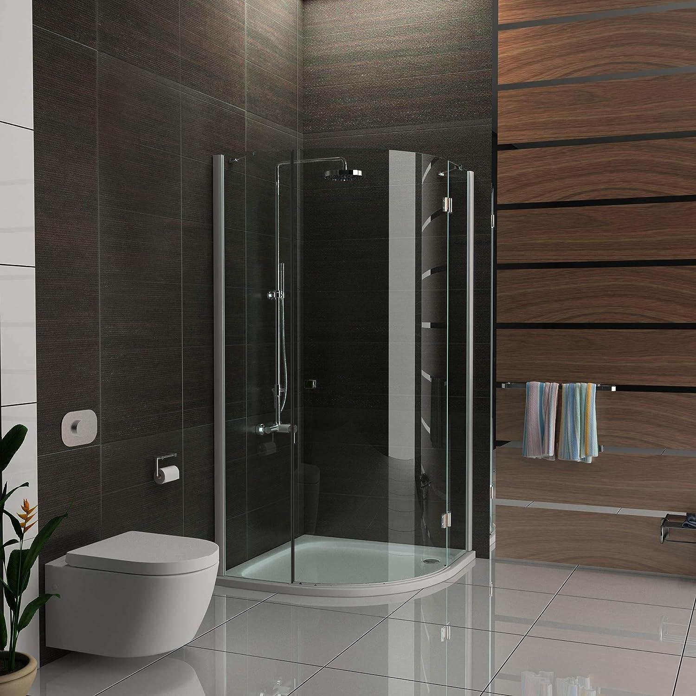 Cabina de ducha de Alpenberger de 90 x 90 x 195 cm, de 1 puerta con antical, de vidrio de seguridad ESG (6 mm) de alta estanqueidad gracias al marco completo, incluye