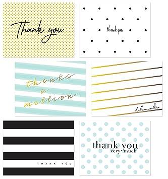 60 Thank You Postcards 6 Assortment Of Polka Dot Striped Thank