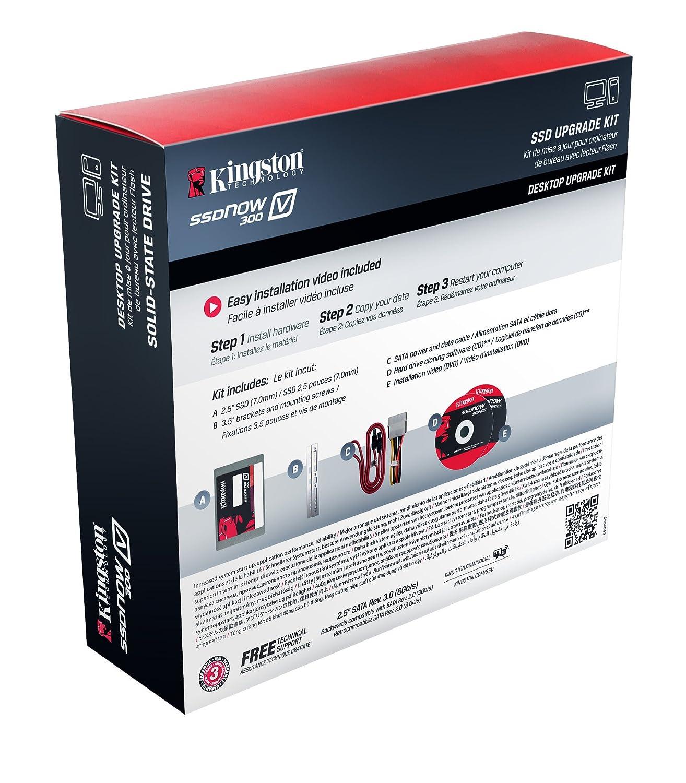 Kingston Digital 120GB SSDNow V300 SATA 3 2.5 (7mm height) Desktop Bundle Kit with Adapter Solid State Drive SV300S3D7/120G