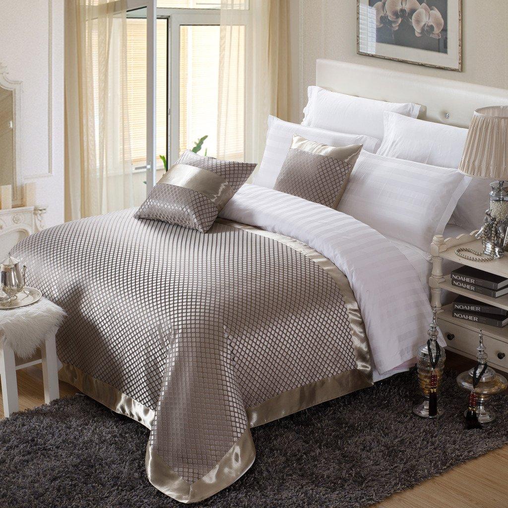 OSVINO Bettläufer Jacquard Kariert Retro Exquisite Schnell-Trocken Anti- Bakterie Bett-Deko Betttuch für Schlafzimmer Hotelzimmer, Gold 260x 155cm für 200cm Bett