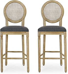 Christopher Knight Home Kenny French Country Wooden Barstools with Upholstered Seating (Set of 2), Charcoal and Natural