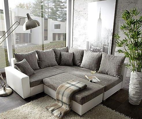 Eckcouch grau weiß  Couch Lavello mit Hocker Ecksofa L-Sofa (Eckcouch Rechts mit ...