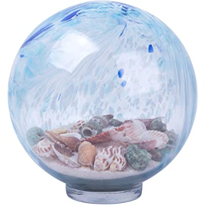 Home Essentials Aqua/Blue Gazing Ball with Sand 8 inches Diameter : Garden & Outdoor
