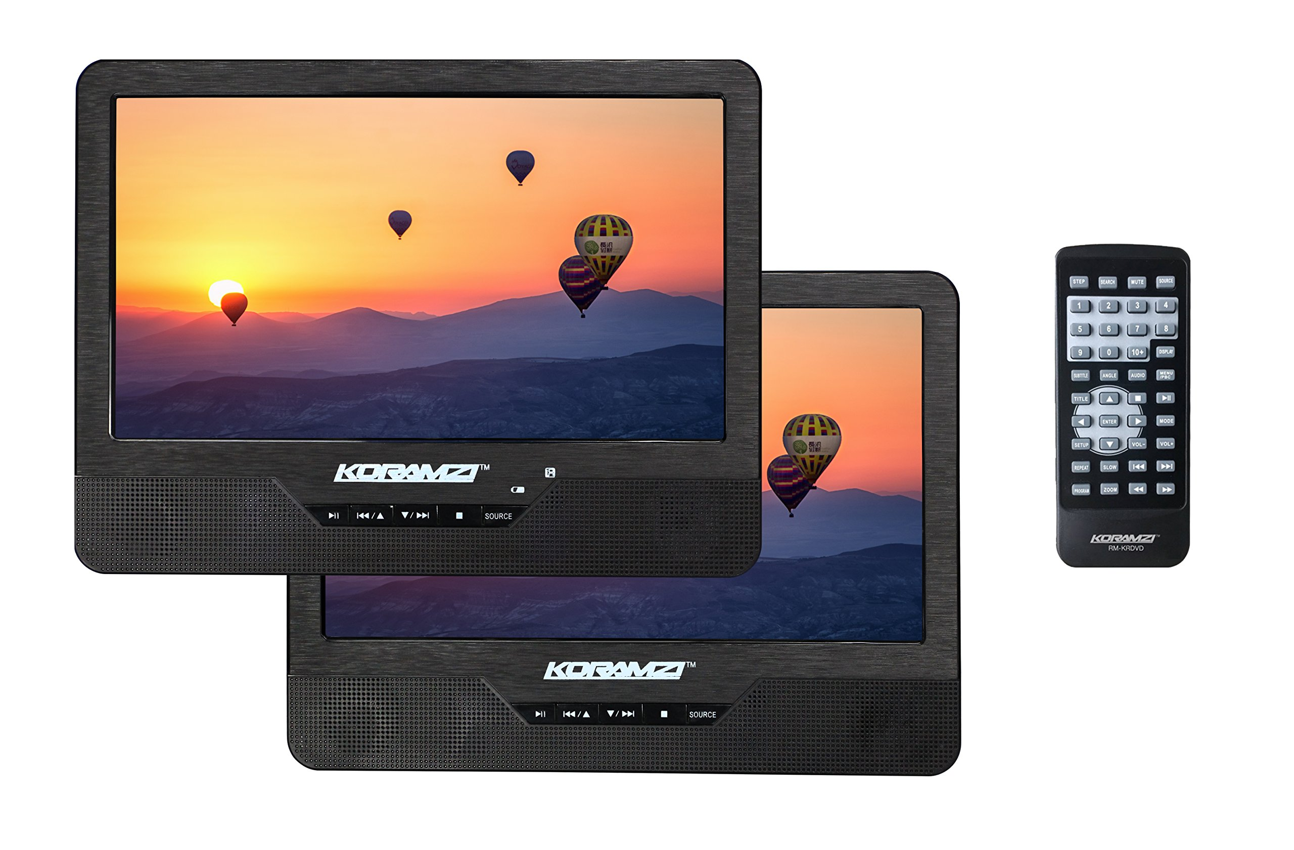 Koramzi Portable 9'' Dual Screen (1)DVD Player With Rechargeable Battery/ AC Adapter/ AV In/ USB &SD Card Reader/ Remote Control/ Car Adapter/ IR Transmitter Ready/ USB / Headrest Mounting Kit