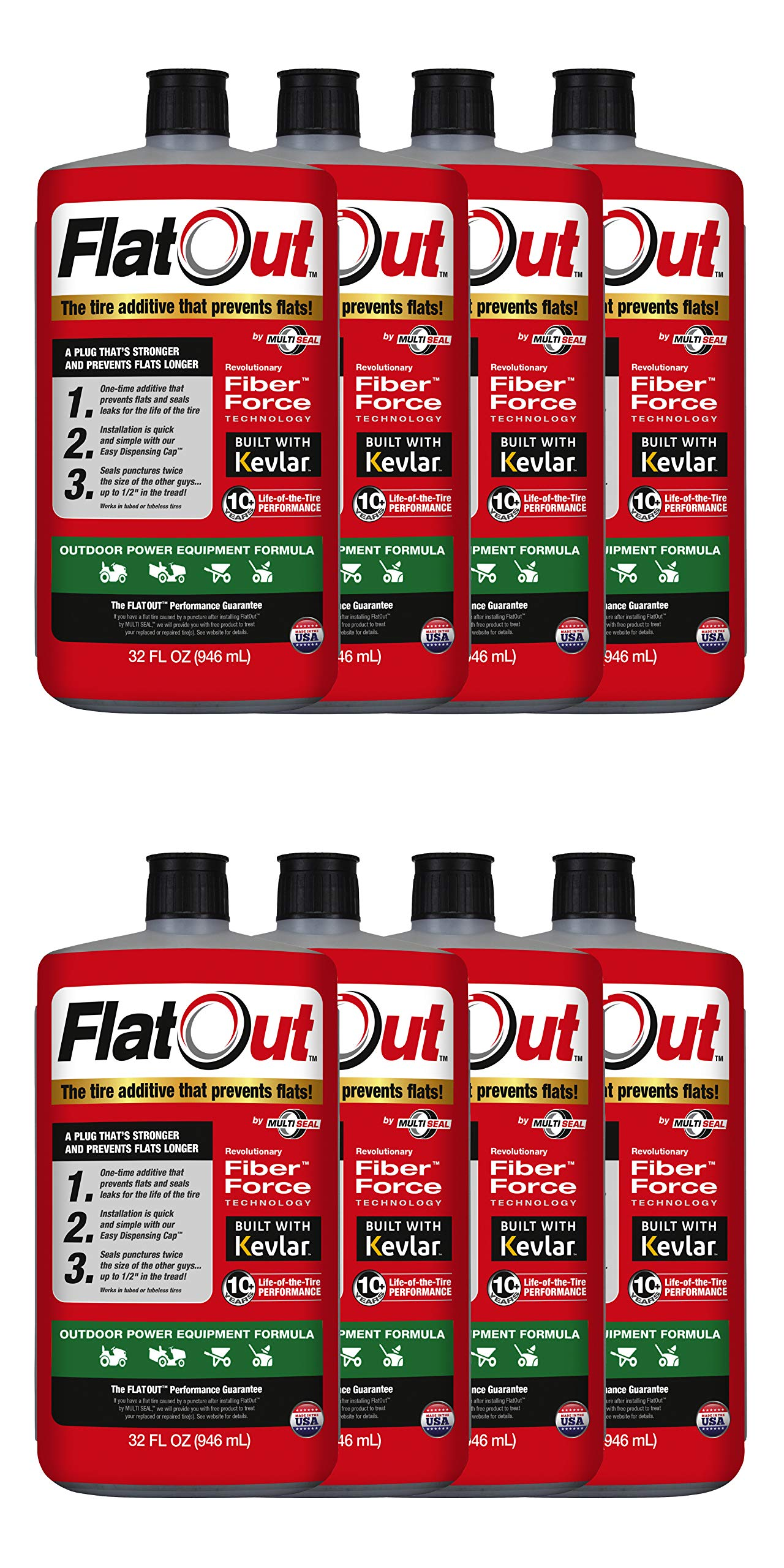 MULTI SEAL 20128 8-Pack FlatOut Tire Additive (Outdoor Power Equipment Formula), for Lawn Mowers, Small Tractors, Wheelbarrows, Woodchippers, Snow Blowers and more and more, 8 Pack by MULTI SEAL