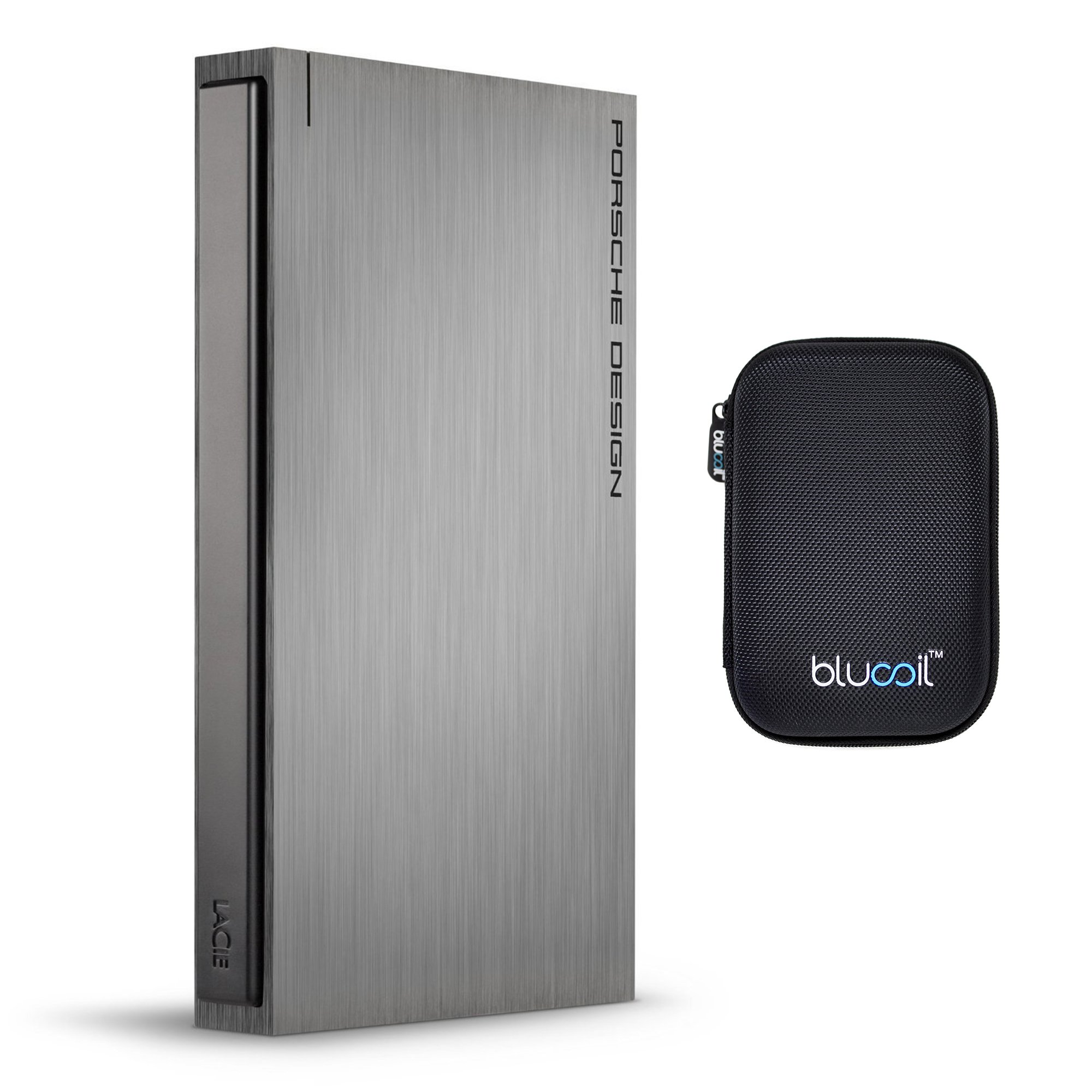 LaCie 1TB Porsche Design P'9220 Mobile Hard Drive USB 3.0/2.0 Compatible BUNDLED WITH Blucoil Portable Shockproof EVA Hard Case for 5.6 x 3.6 x 1.3'' for External Harddrive, Powerbank, GPS Devices