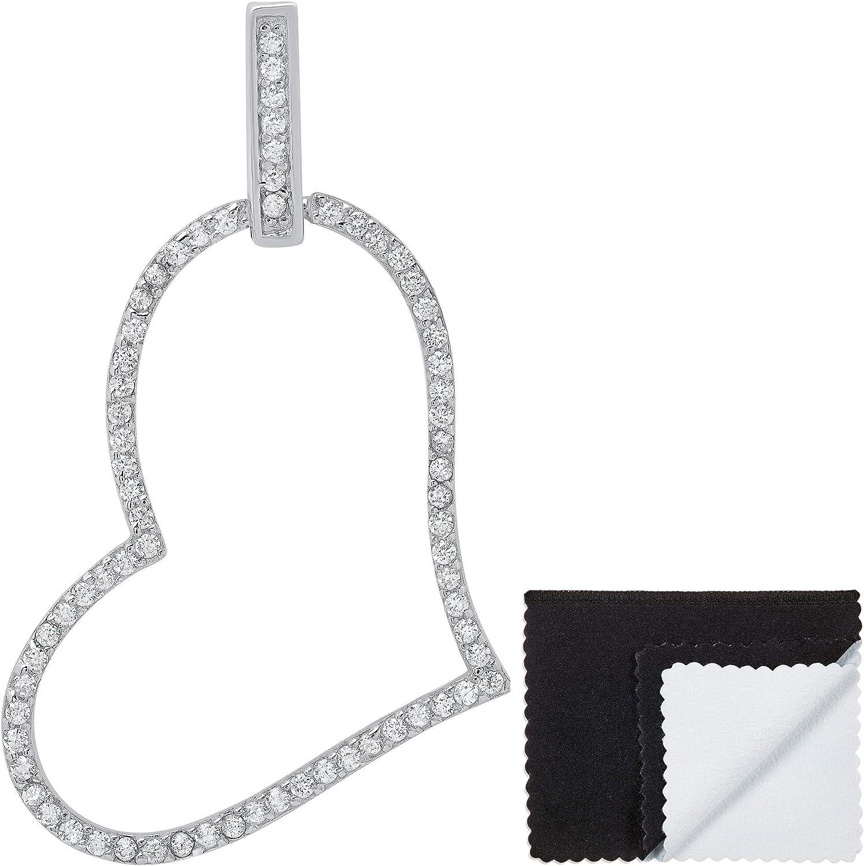 Womens .925 Sterling Silver Cubic Zirconia Cross Open Heart Pendant Jewelry Cloth /& Pouch