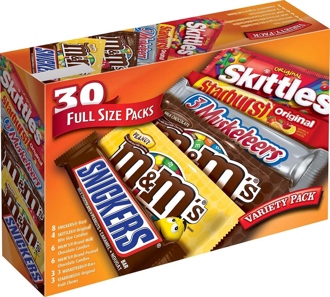 M&M'S, SNICKERS, 3 MUSKETEERS, SKITTLES & STARBURST Full Size Chocolate Candy Variety Mix 56.11-Ounce 30-Count Box by Mars