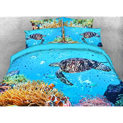 Qucover 3D Turtle Bedspreads Comforter Sets 3-Piece Lightweight Blue Sea Turquoise Bed-in-A-Bag Comforter Toddler Bedding Set for Boy Girl Queen/Double Size: Home & Kitchen