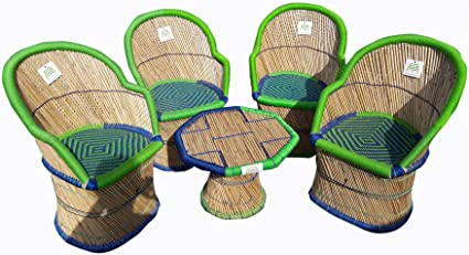 Ecowoodies Arbutus Cane Outdoor Furniture Set (4 Chairs + 1 Table)