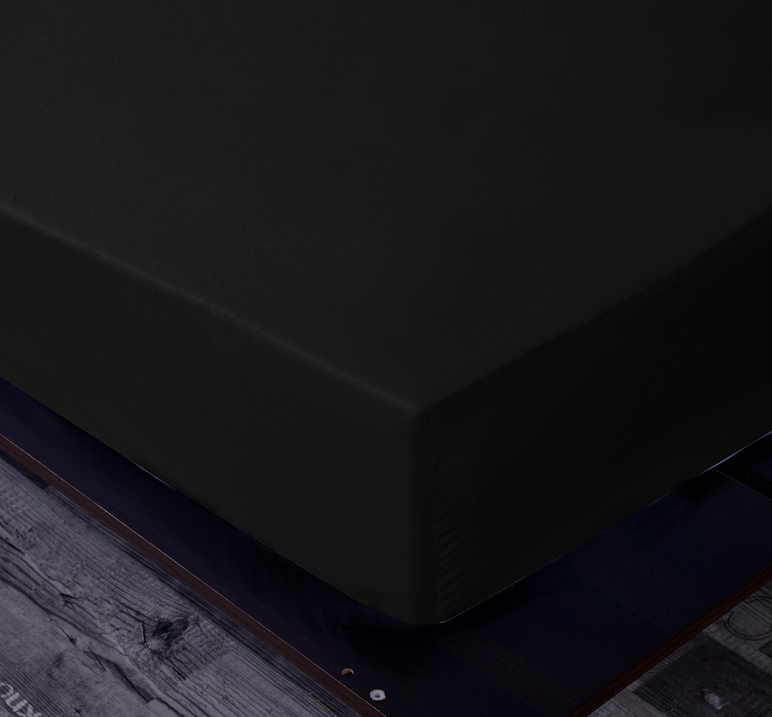 Goza Bedding Microfiber Fitted Sheet (Black, Full)