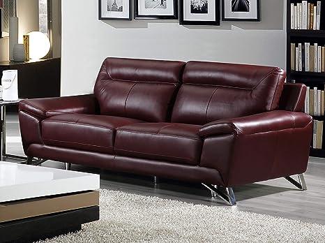 Cortesi Home Phoenix Genuine Leather Sofa, Merlot