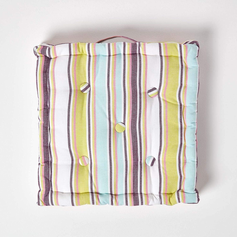 100/% Reine Baumwolle mit Polyester F/üllung Homescapes gestreiftes Sitzkissen 40 x 40 cm Stuhlkissen Multi Stripes Sitzerh/öhung Stuhlauflage