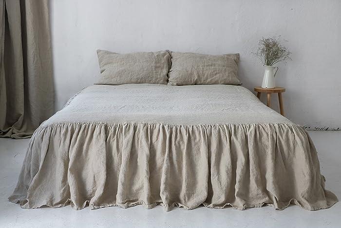 Superior Linen Coverlet. Natural Linen Dust Ruffle. Queen Size. King