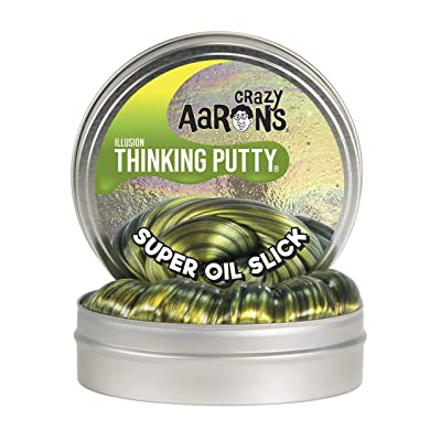 "Crazy Aaron's Thinking Putty 4"" Tin 3.2 oz Super Oil Slick - Multi-Color Metallic - Never Dries Out: Toys & Games"