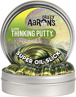 """product image for Crazy Aaron's Thinking Putty - Super Illusions: Super Oil Slick - Fidget Toy for All Ages - Stretch, Change, Play & Create - Shifting Gold Color That Never Dries Out - 4"""" Large Storage Tin - 3.2 oz."""