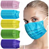 10/50PC Adult Disposable Face Protection Embossed Texture Design 3Ply Non-woven Earloop Solid Color Face Bandanas…