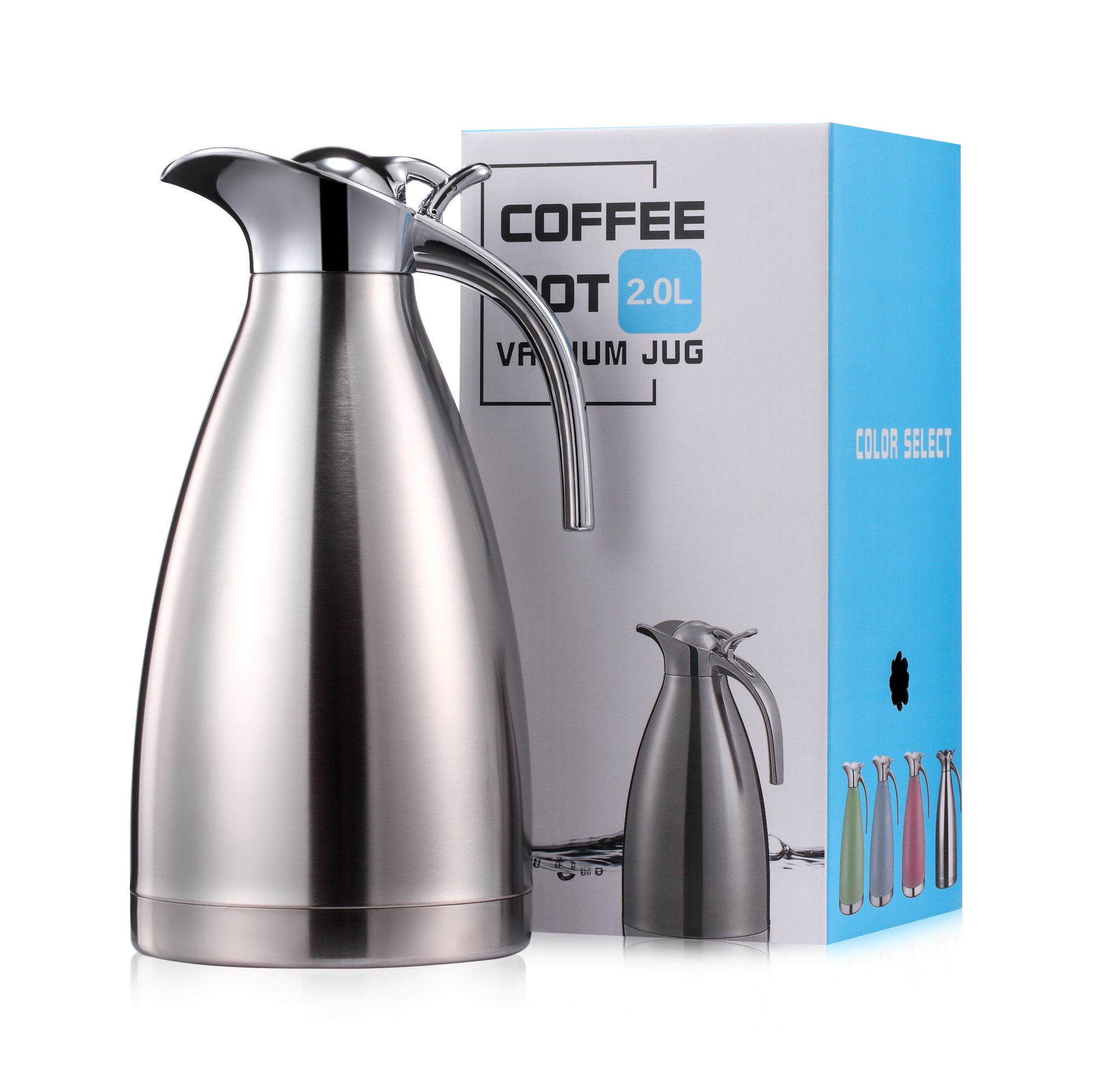 Eglaf 68 Oz Stainless Steel Thermal Carafe - Quality Thermal Pitcher - Vacuum Insulated Double Walled Coffee/Tea Carafe - Beverage Dispenser- hot/cold- 2L (stainless steel)