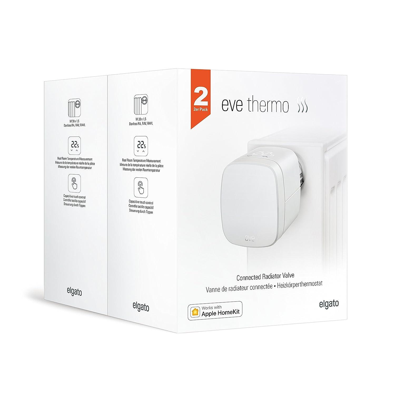 Apple HomeKit pantalla LED controles t/áctiles integrados non occorrono bridge o gateway Eve Thermo blanco V/álvula termost/ática para radiador