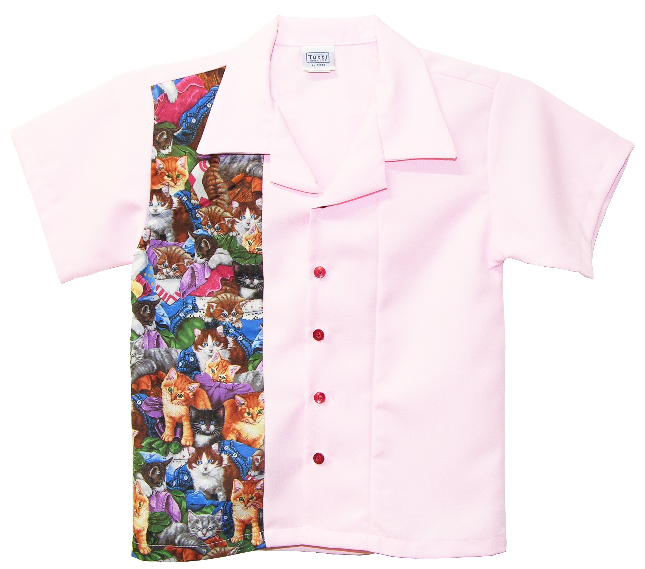 Kids Bowling Shirt Children Size Pink with Cute Cat Print (Large 6-7 Yrs Old)