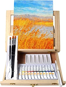 Tavolozza Wooden Mixed Media Art Set Easel Painting Kit with Wood Table Desk Top Easel Box Include Painting Board,Acylic Paints,Brushes,Palette Knife