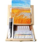Tavolozza Wooden Mixed Media Art Set Easel Painting Kit with Wood Table Desk Top Easel Box Include Painting Board,Acylic…