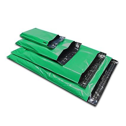 50 bolsas de plástico para envíos postales de correo, colores variados, color verde