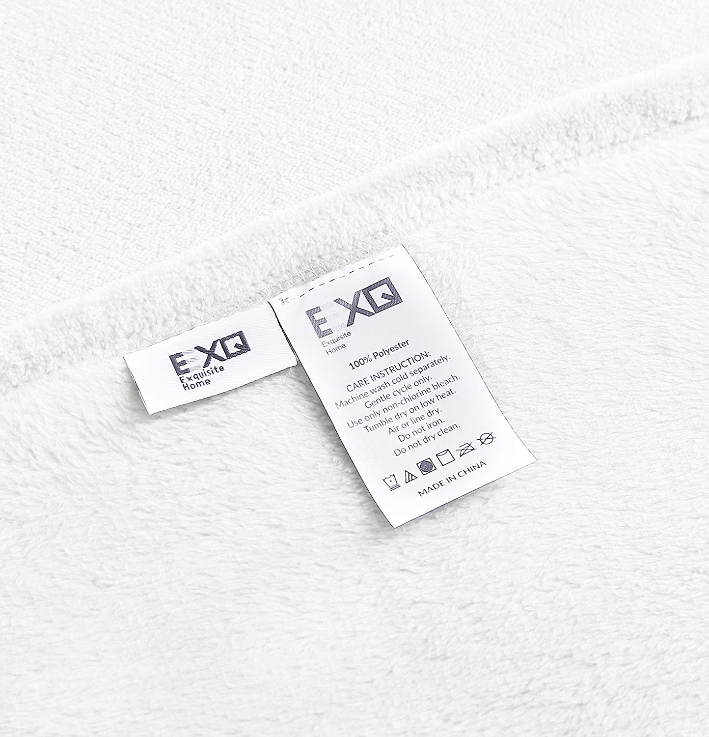 EXQ Home Fleece Blanket King Size White Throw Blanket for Bed or Couch Super Soft Microfiber Fuzzy Flannel Blanket for Adults or Pet Lightweight,Non Shedding