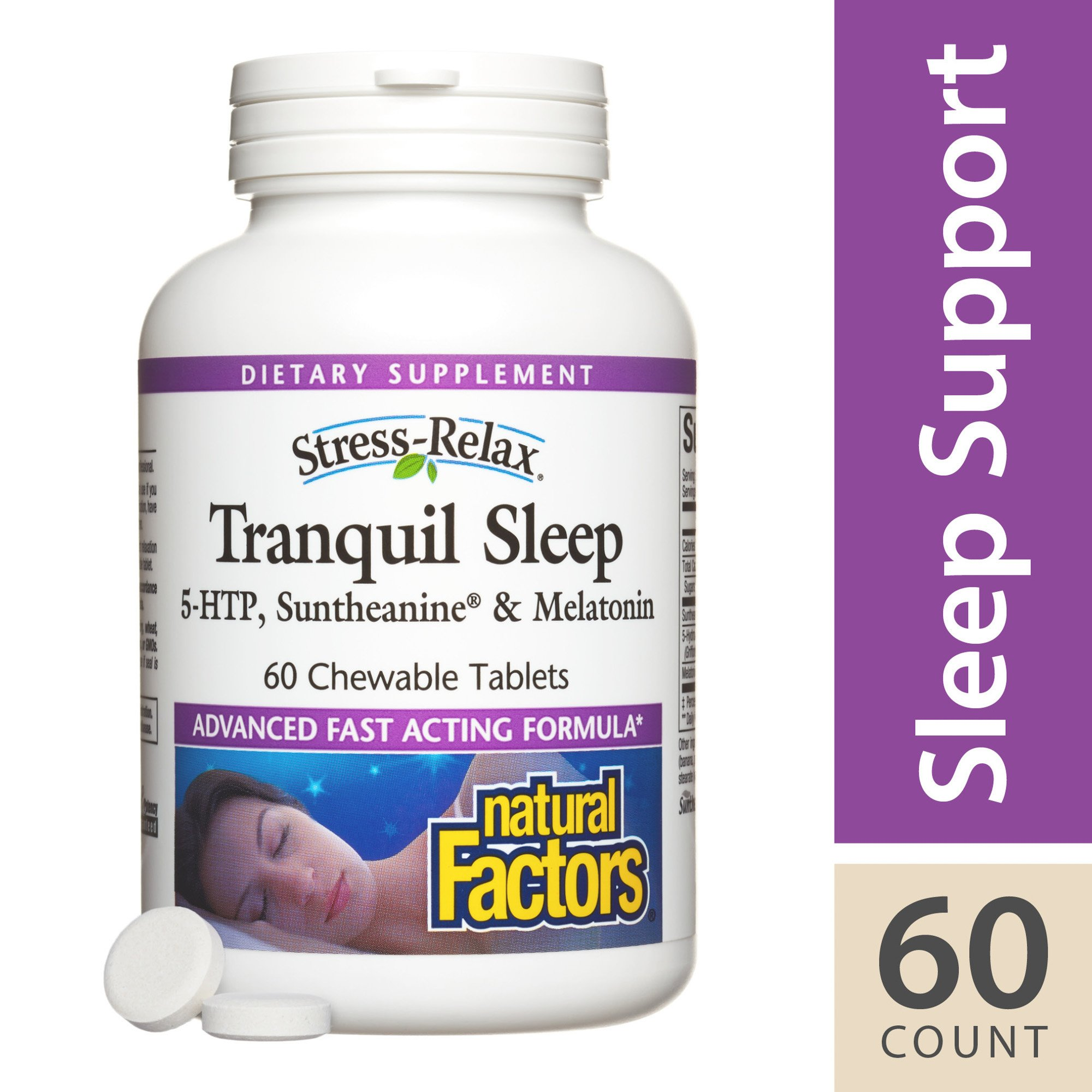 Natural Factors - Stress-Relax Tranquil Sleep, Deep Calm Promoted by Melatonin and Suntheanine, 120 Chewable Tablets