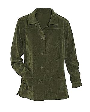 National Faux Suede Shirt Jacket, Olive, Medium