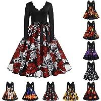 Vestidos de Halloween Manga Larga de Las Mujeres Años 50 Falda de Cuello Redondo Vintage Rockabilly Clásico de Impresión…
